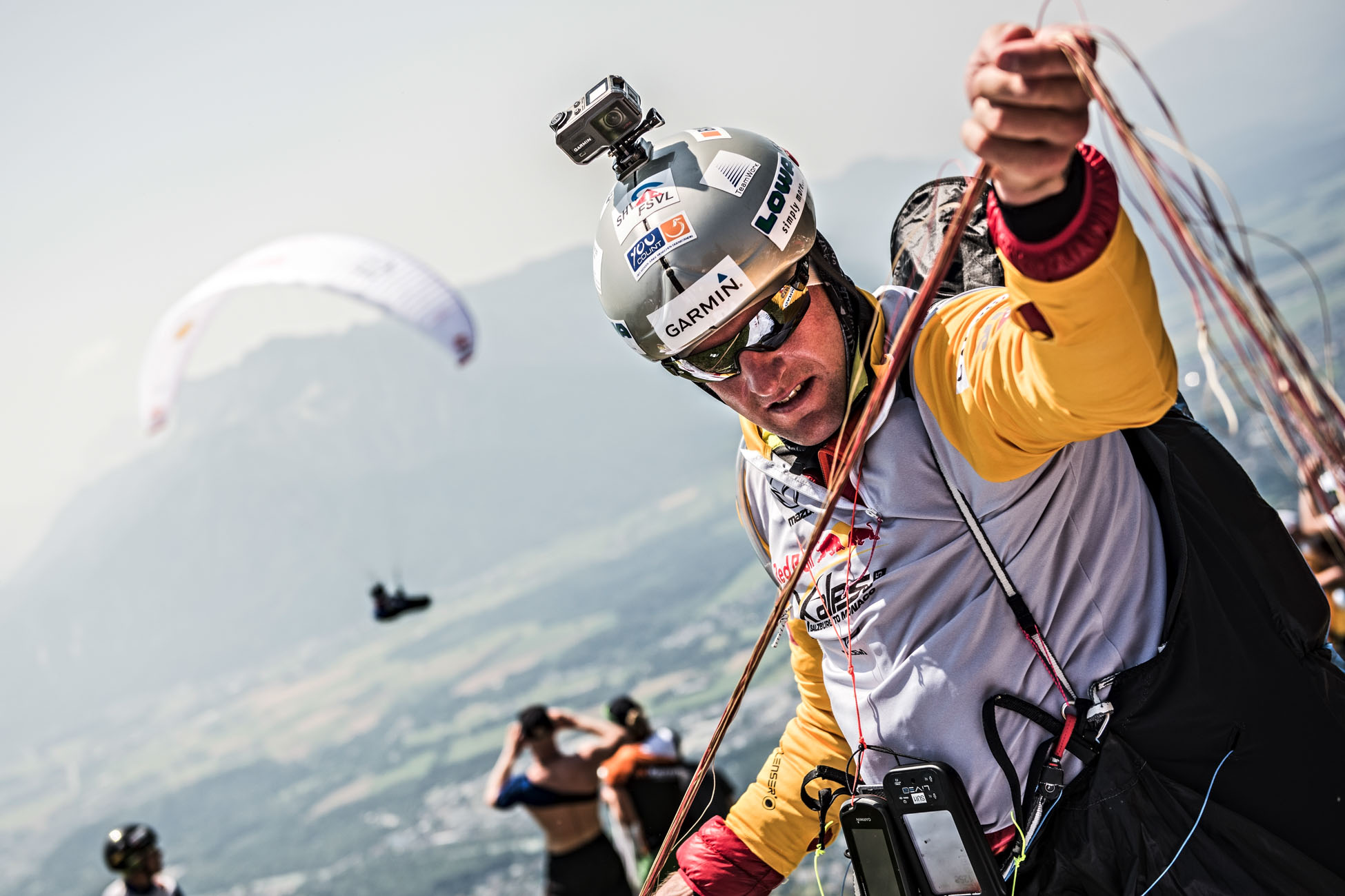 Christian Maurer of Switzerland preparing to take off at turnpoint one of the Red Bull X-Alps 2015, Gaisberg, Salzburg, Austria on July 5 2015. // Sebastian Marko/Red Bull Content Pool // P-20150705-00387 // Usage for editorial use only // Please go to www.redbullcontentpool.com for further information. //